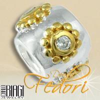 Biagi Bead Bl�tenkugel 925 Sterling Silber, Gold, Zirkonia