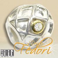 Biagi Bead Gitterdekor 925 Sterling Silber, Gold, Zirkonia