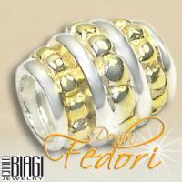 Biagi Bead Zylinder mit Goldbändern 925 Sterling Silber, Gold