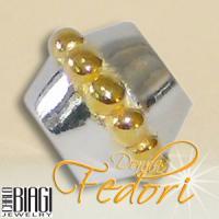 Biagi Bead Zylinder mit Goldperlen 925 Sterling Silber, Gold