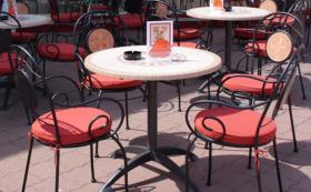 Biergarten Garnitur mit Tisch, Stühlen & Sitzkissen TOP