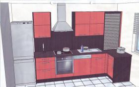Biete Einbauküche in rot! 2 Monate benutzt! Incl alle Elektrogeräte (Siemens)