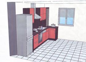 Foto 2 Biete Einbauküche in rot! 2 Monate benutzt! Incl alle Elektrogeräte (Siemens)