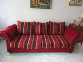 big sofa kolonialstil rot 3 sitzer rot textil. Black Bedroom Furniture Sets. Home Design Ideas