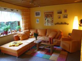 Bigsofa  XXL Orange mit Hocker und Schaukel Sessel