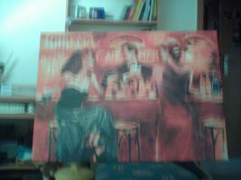 Bild auf Leinwand rot/orange Töne 98 cm x 68 cm