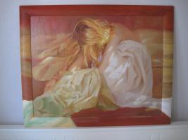 Bild mit Motiv einer sitzenden Frau 1,00 x 0,80 m
