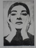 Bild: Radierung Maria Callas (Oper, Sängerin, Griechenland, La Traviata)