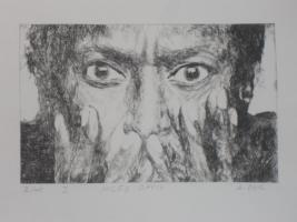 Bild: Radierung Miles Davis (Jazz, Musiker, Trompeter, Trompete, Komponist, Bebop...)