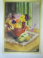 Bild -'' Blumenvase mit Fr�chten '' - gemaltes Bild im passendem zeitlosem Holzrahmen