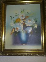Bild - '' Blumenvase '' - gemaltes Bild im sehr schönen Rahmen