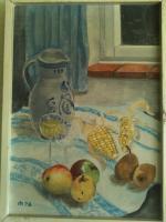 Bild - '' Esstisch mit Früchten '' - gemaltes Bild im passendem zeitlosem Holzrahmen