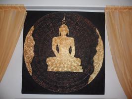 __Bild __Handgemalen__Goldener__Buddha__Thailand