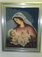 Bild - '' Maria unter Kirschblüten mit Jesuskind '' im Gemälderahmen TOP !!!