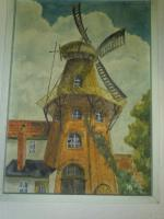 Bild - '' Windmühle '' - gemaltes Bild im passendem zeitlosem Holzrahmen
