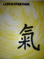 Bilder mit Acryl   - Lebensenergie- Chinesisches Zeichen