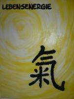 Foto 3 Bilder mit Acryl   - Lebensenergie- Chinesisches Zeichen