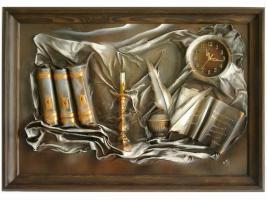 Foto 4 Bilder aus Leder, Uhren aus Leder, Dekoartikel