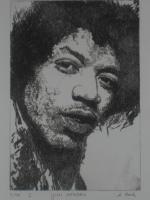 Bilder: Radierung Jimi Hendrix (Musiker, Gitarrist, E- Gitarre, Rockmusik, Woodstock...)