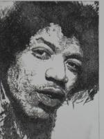 Foto 2 Bilder: Radierung Jimi Hendrix (Musiker, Gitarrist, E- Gitarre, Rockmusik, Woodstock...)