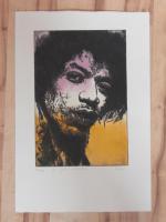Foto 4 Bilder: Radierung Jimi Hendrix (Musiker, Gitarrist, E- Gitarre, Rockmusik, Woodstock...)