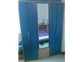 Blauer Kleiderschrank 150x 200 x 58 - Korpus Buche