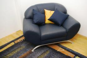 Blauer Sessel, passende Kissen und Teppich