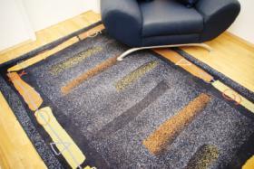 Foto 2 Blauer Sessel, passende Kissen und Teppich