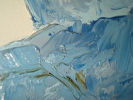 Foto 4 Blaues Dorf 1965 Gemalde Ölgemälde Rahmen signiert 70s