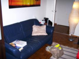 Blaues Zweisitzer-Sofa