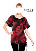 Bluse mit Jetsteinen rot-schwarz - Größe 36 - OVP