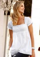 Bluse mit Lochstickerei - CORLEY - Weiß - Gr. 36 - NEU