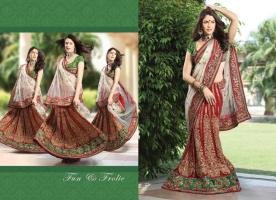 Bollywood Designer lehengas Sarees inkl.Blusenstoff