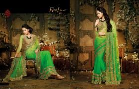 Bollywood Elegante Designer sari mit Blusenstoff