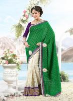 Bollywood Luxus Sari mit Handarbeit