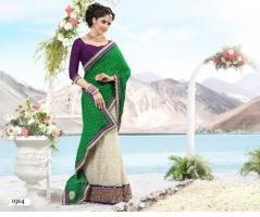 Foto 2 Bollywood Luxus Sari mit Handarbeit