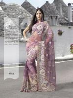 Bollywood Malvenfarbigen Net Saree mit Blusenstoff