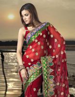 Bollywood Maroon faux Georgette Saree (Sari)