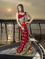 Foto 2 Bollywood Maroon faux Georgette Saree (Sari)