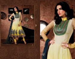 Bollywood Salwar Creme und Gelb Net Churidar Kameez mit Dupatta