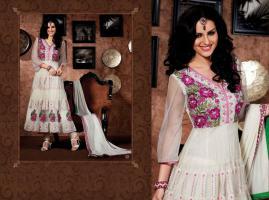 Bollywood Salwar Creme weiß Net Churidar Kameez mit Dupatta
