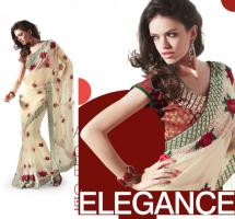 Bollywoods Elegance Embroidered Net Saree (Sari)