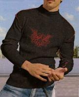 Boys-Tattoo-Pullover, schwarz/rot