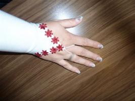Foto 7 Brautkleid Reifrock Stola Handschuhe weiß bordeaux 48 50 52