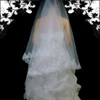 Brautschleier Schleier mit Stickerei 2x1,5m, weiß, neu