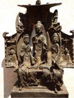 Foto 8 Buddha-Altar, Hausschrein, Hausaltar, Skulptur, Asien, Indien, Widmungsinschrift