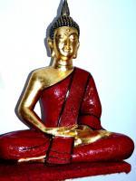 Buddha Figur XXL 65cm aus Polyresin, handbemalt und veredelt