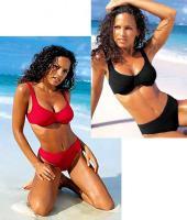 Bügel Bikini im Duo rot und schwarz Cup B