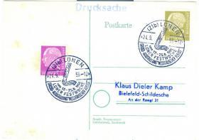 Bund Postkarte Sonderstempel mit Nr. 177+179 wie auf Bild zu sehen.
