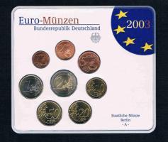 Bundesrepublik Deutschland Offizieller Amtlicher Euro Kursmünzensatz 2003 Prägebuchstaben A / D / F / G / J Prägefrisch .